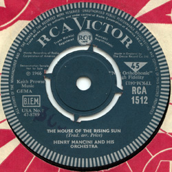 Henry Mancini - The House of the Rising Sun - RCA 1512 UK 7""