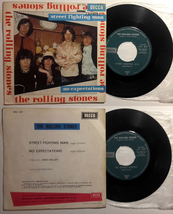 "The Rolling Stones - Street Fighting Man - Decca MO 477 Spain 7"" PS"