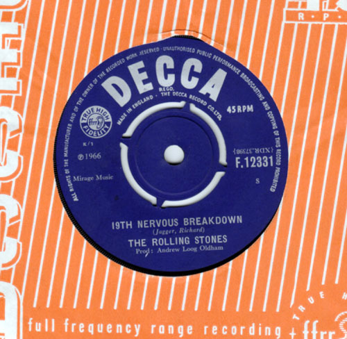 "The Rolling Stones - 19th Nervous Breakdown - Decca F.12331 UK 7"" CS"