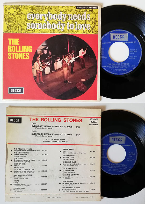 """The Rolling Stones - Everybody Needs Somebody To Love - Decca 333.001 France 7"""" PS"""