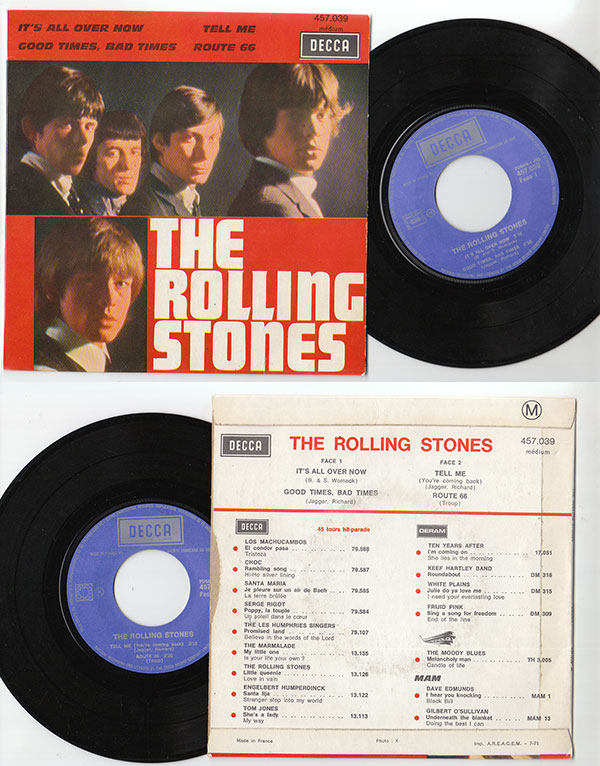 """The Rolling Stones - It's All Over Now  - Decca 457.039 France 7"""" EP"""