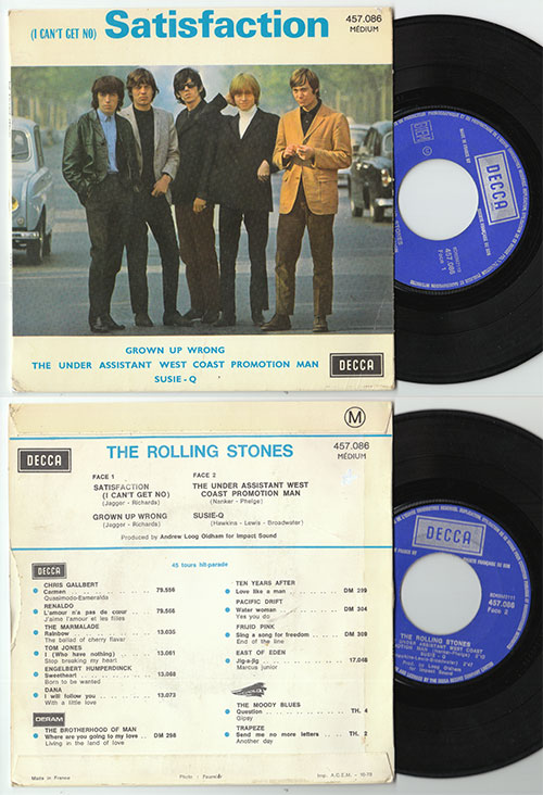 """The Rolling Stones - Satisfaction  - Decca 457.086 France 7"""" EP"""