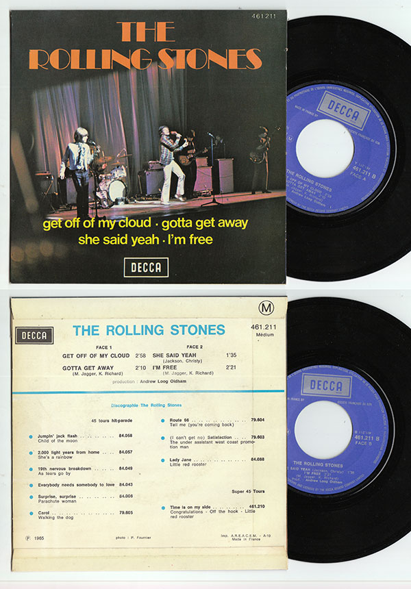 """The Rolling Stones - Get Off Of My Cloud  - Decca 461.211 France 7"""" EP"""