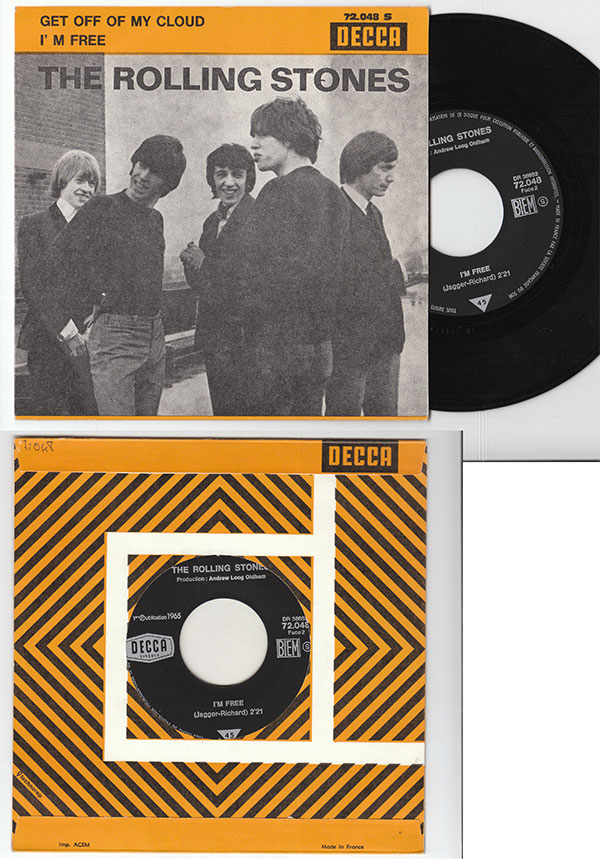 """The Rolling Stones - Get Off Of My Cloud - Decca 72.048 France 7"""" PS"""