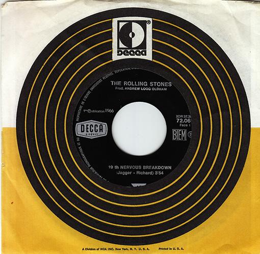 "The Rolling Stones - 19th Nervous Breakdown - Decca 72.061 France 7"" CS"