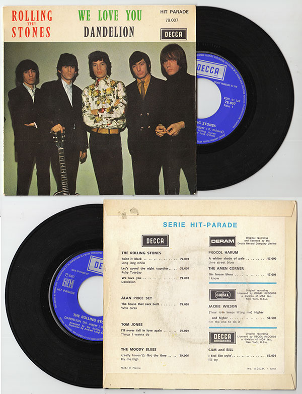 """The Rolling Stones - We Love You - Decca HP 79007 France 7"""" PS"""