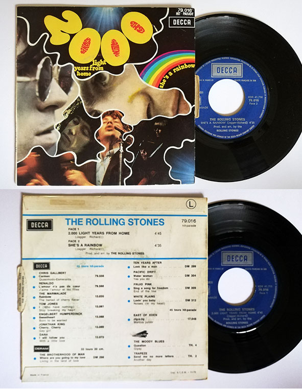 "The Rolling Stones - 2000 Light Years From Home - Decca HP 79016 France 7"" PS"