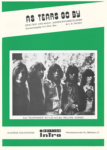 The Rolling Stones - As Tears Go By -   Germany sheet music