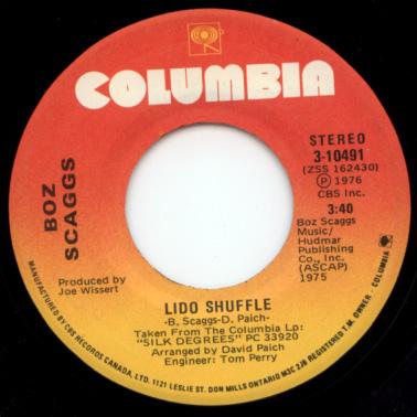 "Boz Scaggs - Lido Shuffle - Columbia 3-10491 Canada 7"""
