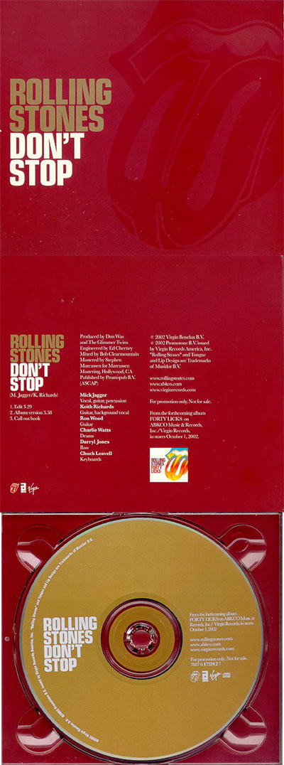 The Rolling Stones - Don't Stop - Virgin 7087 6 17524 2 7 USA CDS