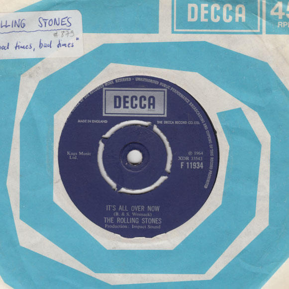 "The Rolling Stones - It's All Over Now - Decca F 11934 UK 7"" CS"