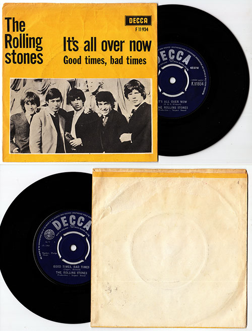 """The Rolling Stones - It's All Over Now - Decca F.11934 Denmark 7"""" PS"""
