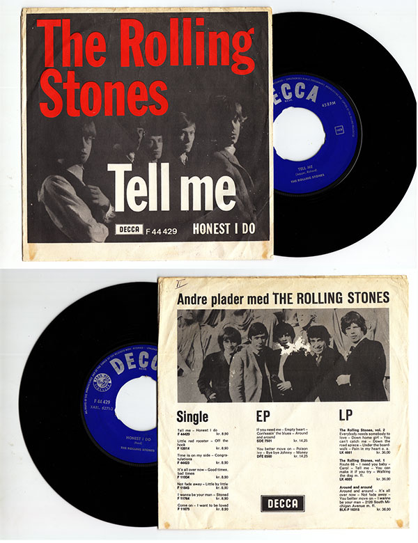 """The Rolling Stones - Tell Me - Decca F 44429 Denmark 7"""" PS"""
