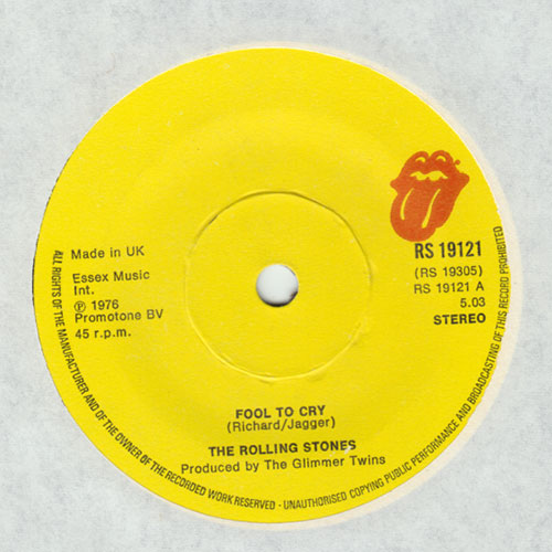"""The Rolling Stones - Fool To Cry - RSR RS 19121 UK 7"""""""
