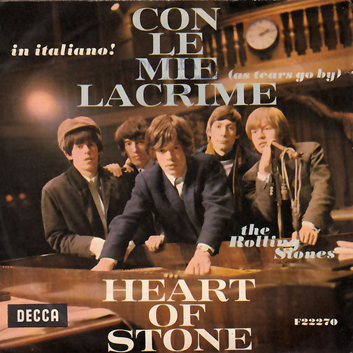 """The Rolling Stones - As Tears Go By (Con Le Mie Lacrime) - Decca F 22270 Italy 7"""" PS"""