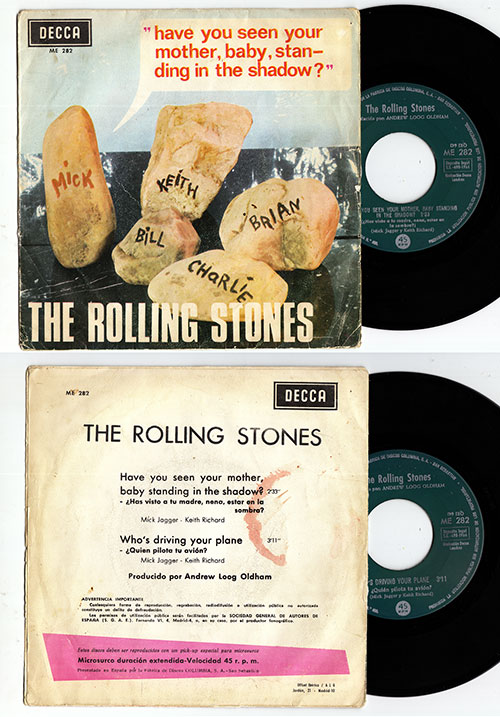 """The Rolling Stones - Have You Seen Your Mother, Baby, Standing In The Shadow ? - Decca ME 282 Spain 7"""" PS"""