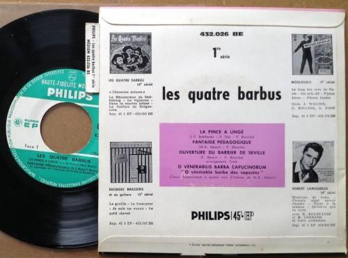 """Les Quatre Barbus - 1ère série - La Pince à Linge +3 - Philips 432026  France 7"""" EP"""
