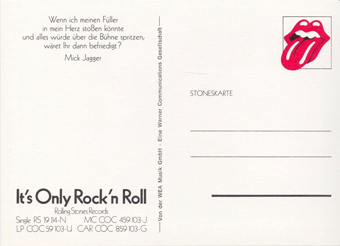The Rolling Stones - It's Only Rock'n'Roll - WEA  Germany postcard