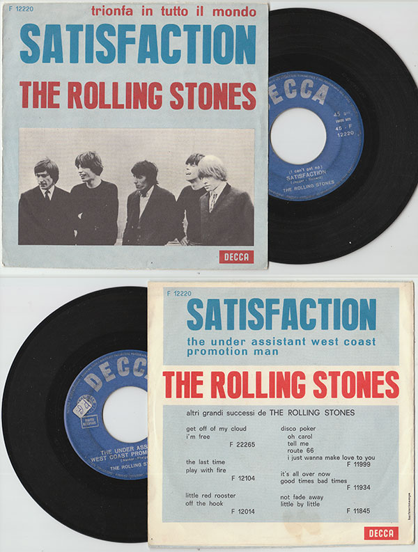 """The Rolling Stones - Satisfaction - Decca F 12220 Italy 7"""" PS"""