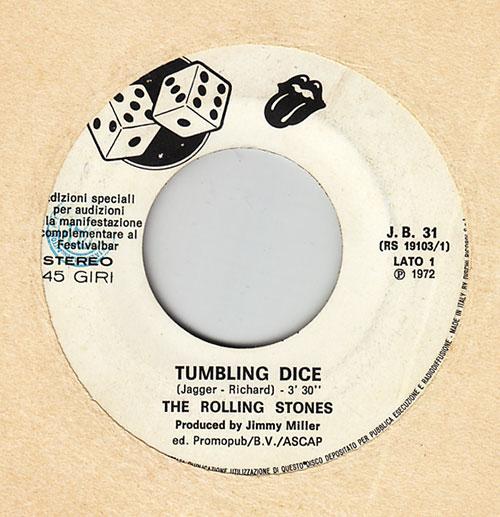 "The Rolling Stones -  - RSR / Dischi Ricordi J.B. 31 Italy 7"""