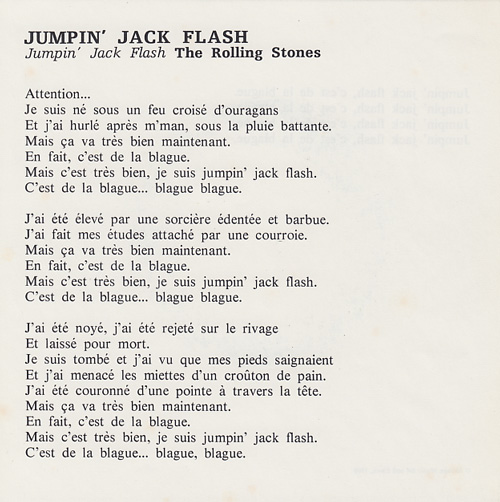 The Rolling Stones - Jumpin' Jack Flash - Decca  France flyer