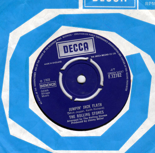 "The Rolling Stones - Jumpin' Jack Flash - Decca F.12782 UK 7"" CS"