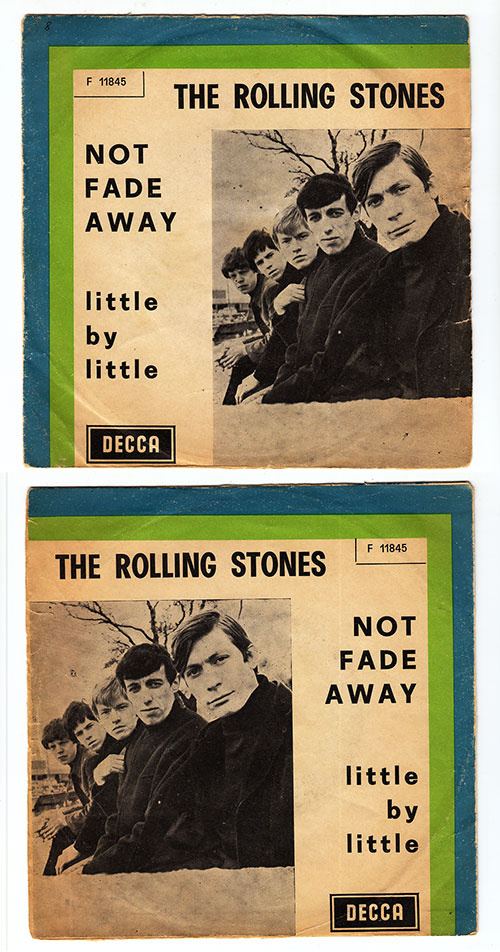 """The Rolling Stones - Not Fade Away - Decca F 11845 Italy 7"""" PS"""