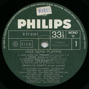 Jean Ponty - Luc - Jazz Long Playing - Philips B 77.810 L France LP