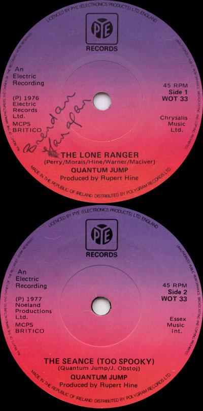 "Quantum Jump (Rupert Hine) - The Lone Ranger - Pye WOT 33 Ireland 7"""