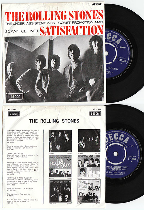 "The Rolling Stones - Satisfaction - Decca F.12220 Holland 7"" PS"