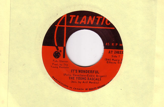 The Young Rascals - It's Wonderful - Atlantic AT 2463X Canada 7""