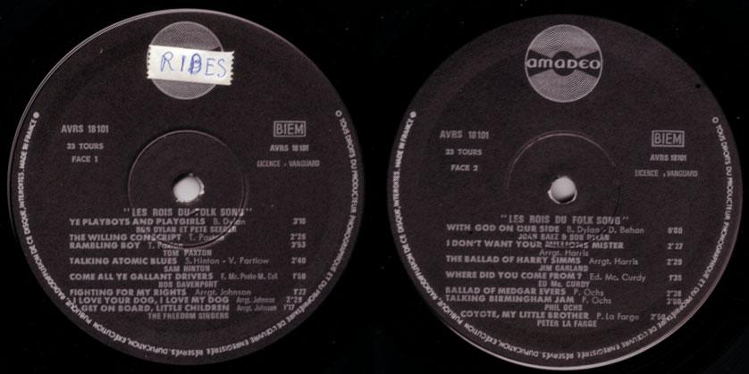 V/A, incl. Bob Dylan, Joan Baez & more - Les Rois du Folk Song - Amadeo - Vanguard AVRS 18101 France LP