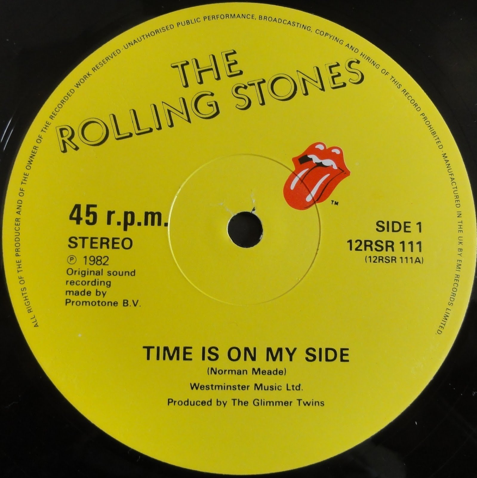"The Rolling Stones - Time Is On My Side (Live) - EMI 12RSR 111 UK 12"" PS"