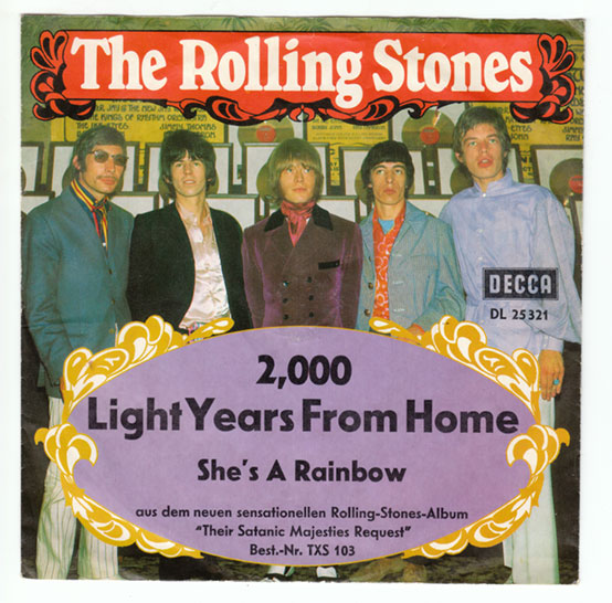 "The Rolling Stones - 2000 Light Years From Home - Decca DL 25321 Germany 7"" PS"