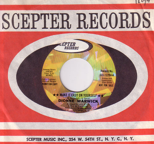 "Dionne Warwick - Make It Easy On Yourself - Scepter SDJ-12294 USA 7"""