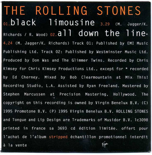The Rolling Stones - Black Limousine + 1 - Virgin SA 3693 France CDS
