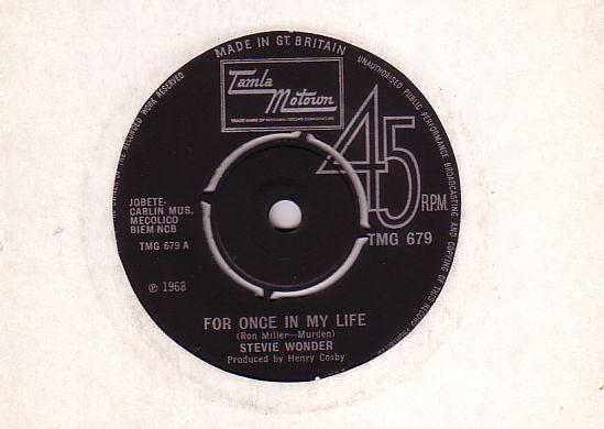 """Stevie  Wonder - For Once in my Life - Tamla Motown TMG 679 UK 7"""""""