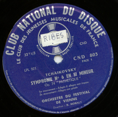 Tchaikovsky - Richard Aaron, Violon Symphonie N°6 'Pathétique' Sérénade Mélancolique Orchestre du Festival de Vienne  - CND CND 803 France LP