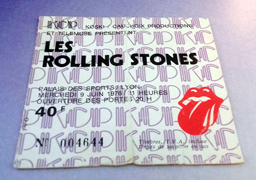 The Rolling Stones - Concert ticket Lyon 1976 -   France ticket