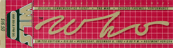 The Who - Ticket Chicago 1982 -   USA ticket