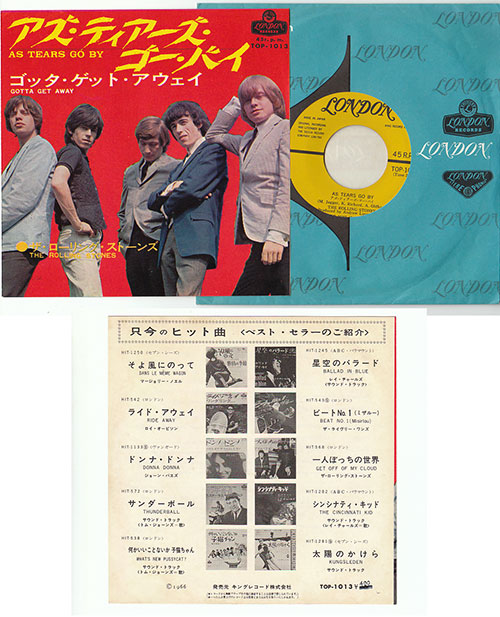 """The Rolling Stones - As Tears Go By - London TOP 1013 Japan 7"""" PS"""