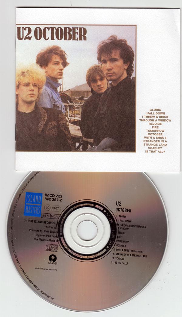 U2 - October - Island IMCD 223 - 842297-2 France CD