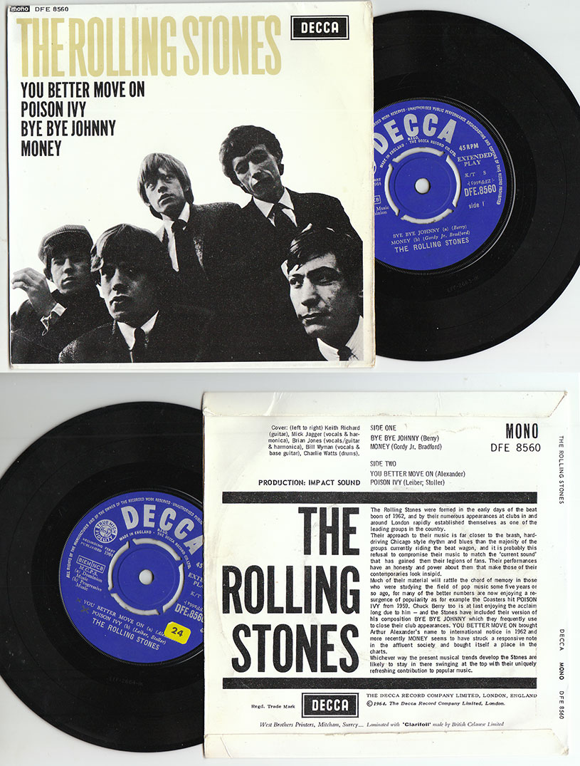 """The Rolling Stones - The Rolling Stones - Decca DFE.8560 UK 7"""" EP"""