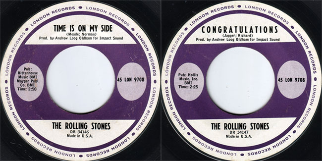 The Rolling Stones - Time Is On My Side - London 45 LON 9708 USA 7""