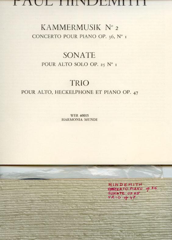 Paul Hindemith - Kammermusik N°2 (concerto pour piano op.36 / Sonate (op. 25) / Trio (op.47) - WERGO studio reihe neuer musik WER 60015 France LP