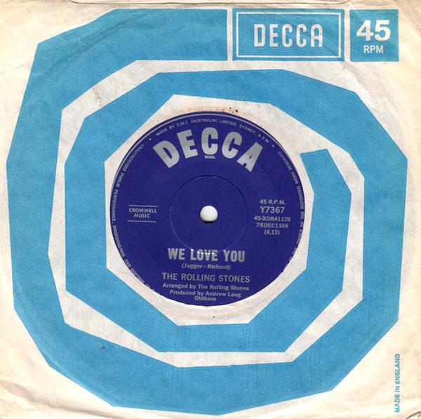 "The Rolling Stones - We Love You - Decca Y 7367 Australia 7"" CS"