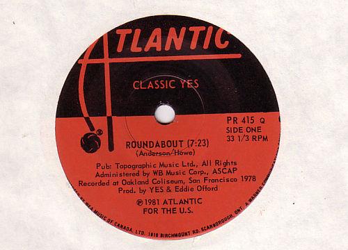 "Yes - Roundabout - Atlantic PR415 Q  Canada 7"" EP"