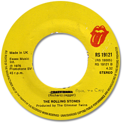 The Rolling Stones : Fool To Cry - UK 1976